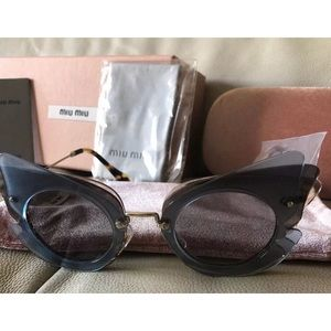 Miu Miu Over Lapping Butterfly Azure Sunglasses
